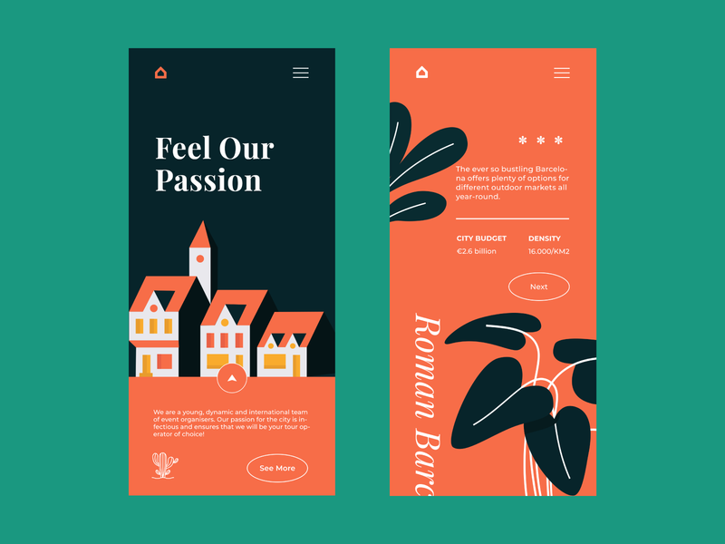 Barcelona Vibes website colour palette mobile app illustration mobile app design mobile design mobile ui mobile web  design typography ui ux web