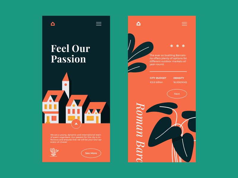 Barcelona Vibes website colour palette mobile app illustration mobile app design mobile design mobile ui mobile web  design typography ui ux web