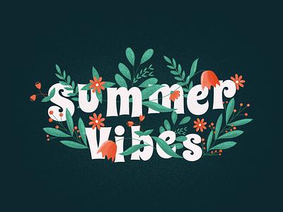 Summer Vibes plant summer flowers colour palette dribbble font vector flat brushes illustraion illustration art illustration web typography