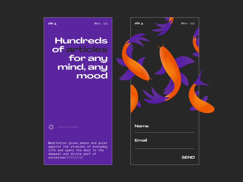 Meditation App/// minimal website web  design colour palette fish illustration mob mobile ui mobile app design mobile design mobile app mobile ux ui