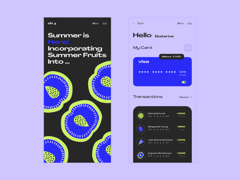🍇   Fruit Ninja summer web  design flat illustration typography mobile ui mobile app design mobile design mobile app mobile web ux ui