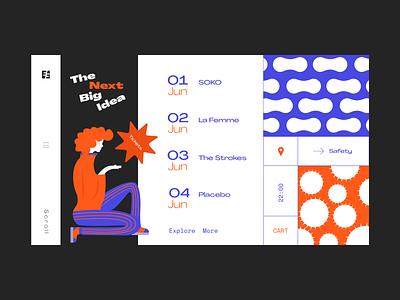 Lineup dribbble invite mobile ui pattern webdesign music art festive summer new ui  ux uidesign dribbble mobile shapes illustrator illustration web  design website web ui ux