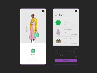 Shopping App mobile mobile app product design cart shopping bag shopping app mobile app design mobile design mobile ui fashion design fashion app gucci typography web ux ui