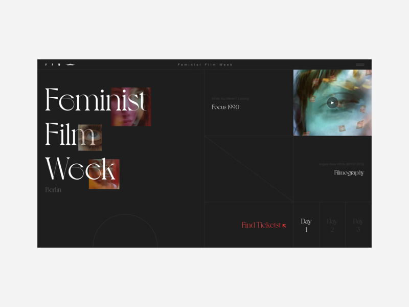 Feminist Film Week mobile app uiux filmfest film ui design ui  ux uidesign webdesign website design mobile ui design flat colour palette website web  design typography web ui