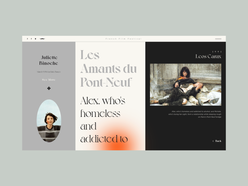 Les Amants du Pont-Neuf mobile app design film design flat colour palette web  design website typography web ux ui