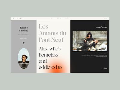 Les Amants du Pont-Neuf mobile app design film design flat colour palette web  design website typography web ux ui