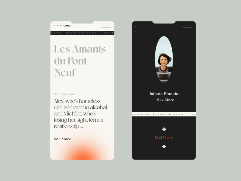 Les Amants du Pont-Neuf /mob//// model france film black  white redesign responsive website design responsive web design responsive design mobile app design mobile design mobile mobile ui mobile app illustration colour palette website typography web ux ui