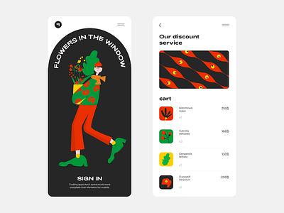 Flowers Market App illustration web  design colour palette website web ux ui mobile app design
