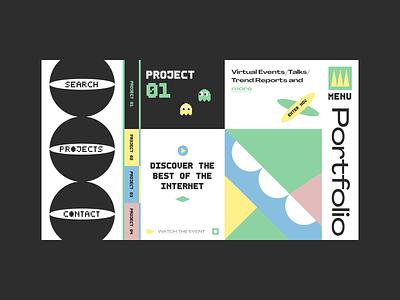 Website Layout With Geometric Elements ui branding typography illustration web  design
