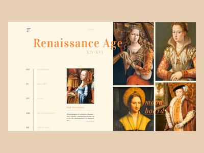 The Renaissance motion animation motion web  design old fashion website illustration app branding historic art typography design flat colour palette web vector ux ui animation