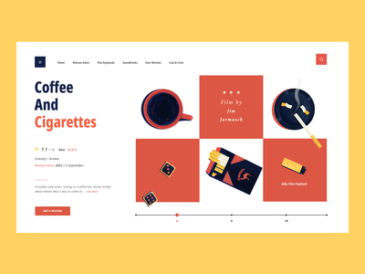 Coffee and Cigarettes type yellow watchlist app cigarettes jim jarmusch fil colour palette typography website web  design motion illustration art vector ux ui flat design web