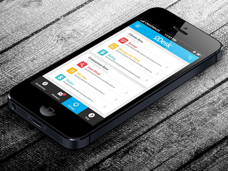 Odesk 39 s iphone app design idea by mamun srizon dribbble for Ideas for iphone apps