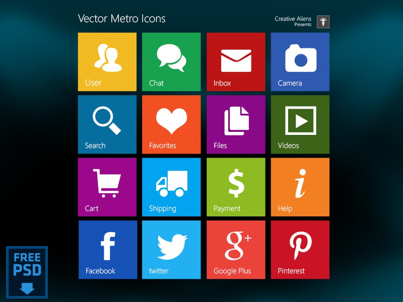 Metro Style Vector Icons [Free PSD] freebies vector icon metro psd