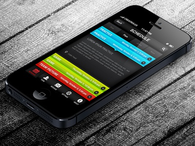 Schedule Screen - Sports League Hub iPhone App Design