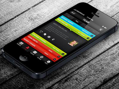 Team Screen - Sports League Hub iPhone App Design