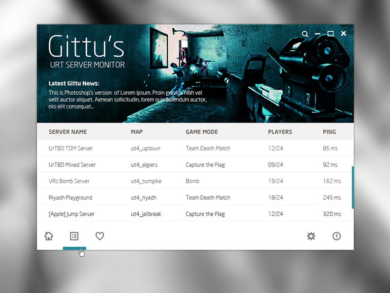 Servers urt server monitor desktop app flat