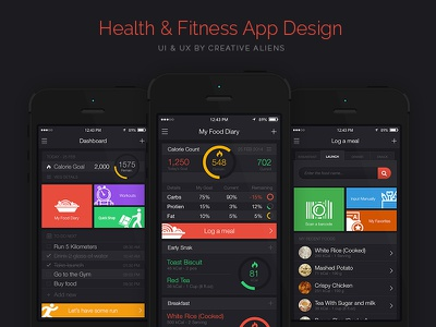 Health and Fitness App Design mobile app flat ios7 dashboard report log food health fitness diet counter