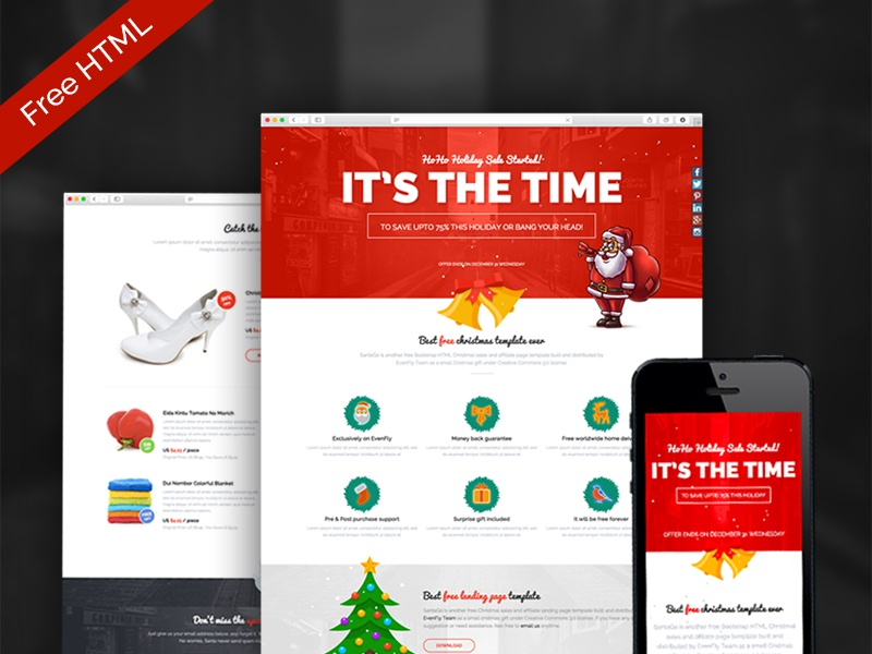 SantaGo Free Christmas Sales Affiliate Landing Page By Mamun - Sales landing page template