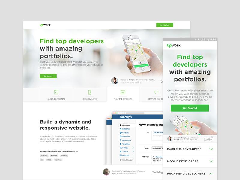 Responsive Landing Page Design mobile responsive ux ui upwork web design tabs landing page