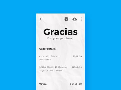 Mobile Payment Reciept Design ecommerce payment ux ui mobile minimal receipt