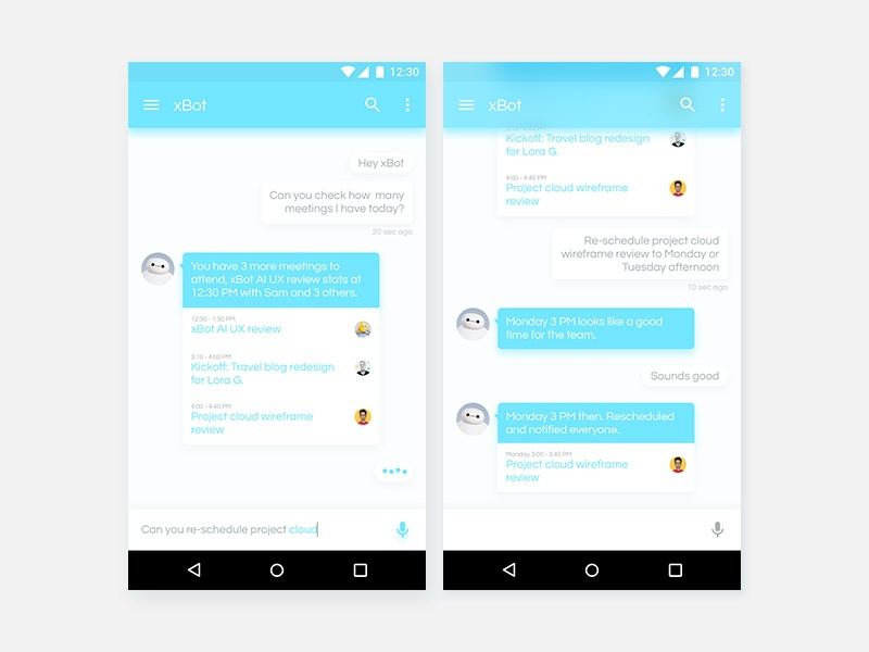 xBot AI Personal Assistant assistant android ux ui calendar chat bot bot chat ai
