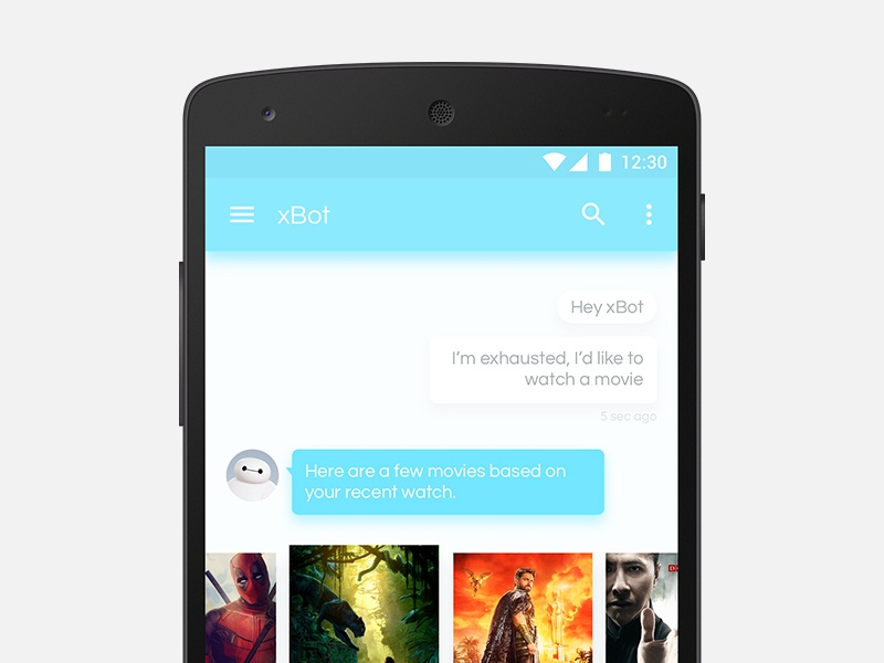 Movie search with xBot AI Assistant ai chat bot chat bot calendar ui ux android assistant