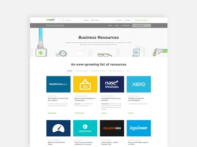 Business Resources Landing Page minimal ux ui resource page cards landing page