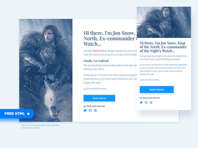 LazyStrap - Free Minimal Bootstrap Template jon snow game of thrones got freebie bootstrap css html ui landing page
