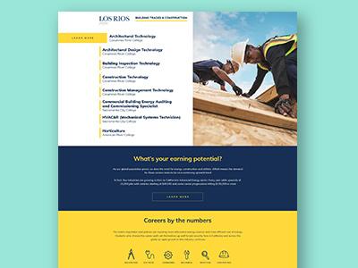 Website for Career Education Programs microsite ui layout landing page website design