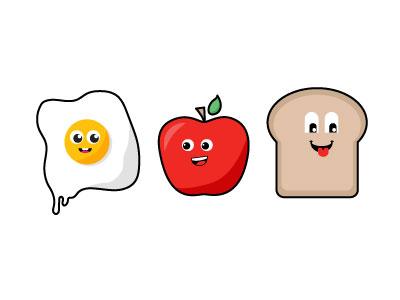 Breakfast Characters flat character illustration identity geometric shape brand logo