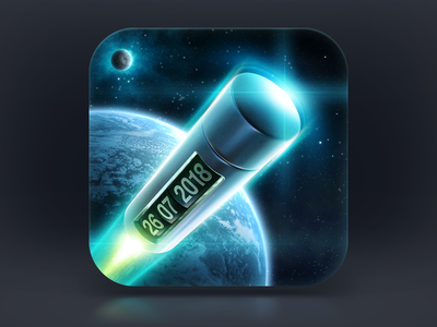 Capsulizer Icon space earth planet star nebula lights metal gloss glare fire traction rocket flight moon sky capsule time moving teleportation icons icon timer process app ios interface