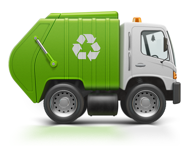 Trash Cleanup icon vector illustration interface cleaner brush cleanmymac cleaning purity removal remove trash car truck wheel tyre rubber garbagetruck flasher illustrator air freshener green recycling