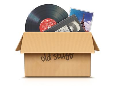 Old Stuff illustrator icon apple remove clean box record photo old trash vector cmm2