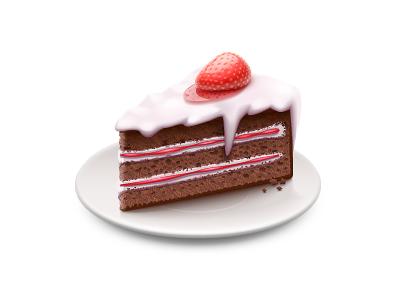 Cake cake strawberry jam pastry plate saucer cream vector illustrator vector