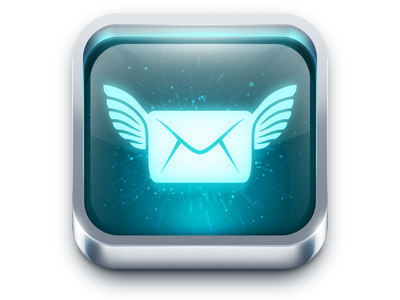 FreeSms icon a free report wings space e-mail envelope photoshop ios