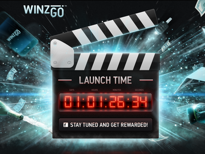 WinzGo logo website watch illustrations data display timer counter parallax slapstick cinema video startup advertisement action prizes gifts countdown