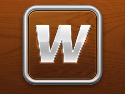 Wordbox Icon word box game puzzle quest multiplayer play missions bonus gameplay extra hint vocabulary english russian in-app store wood metal chrome letter application icon