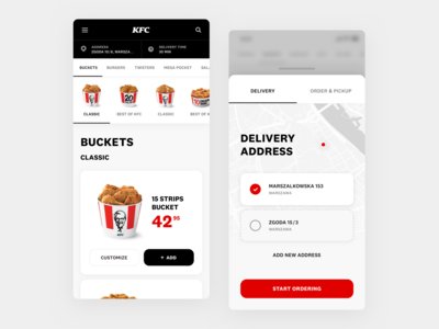 KFC APP - Product list & address view