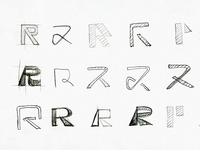 R Symbol Sketches sketched grey cinema theatre interesting contemporary paper r logomark custom wordmark logotype mark monogram creative negative space idea iconic logo logo mark symbol