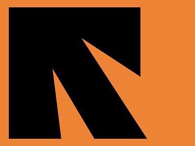 R + Arrow Symbol design monogram orange identity branding sharp brutal negative space mark symbol logo raion r letter