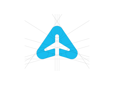 Airplane Logo aircraft airplane booking travel flight airport golden ratio process plane blue minimal logo simple branding modern grid smart clever negative space dribbble geometric guidelines