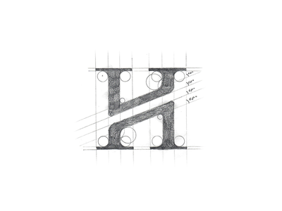 H Monogram Sketch geometrical handmade in progress sketch pencil work serif modern letter minimal luxury villa resort logotype logo h monogram exploration