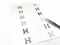 H monogram sketches