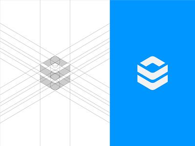 Inocube Symbol Grid grid mathematic dropbox blue minimal modern pixel perfect development paper geometry geometrical software dev developer custom 3d logotype negative space cube innovative out of the box logo mark symbol