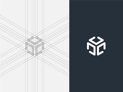 Codebox Symbol Grid blue minimal modern pixel perfect developement geometry geometrical software dev developer custom wordmark logotype negative space click geometric flat grid out of the box logo mark symbol