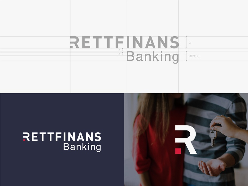 Rettfinnans Logo grid system symbol icon mark symbol branding web perfect mark monogram creative design minimal symbol construction process banking swedish logo fintech fin tech bank finance fin-tech