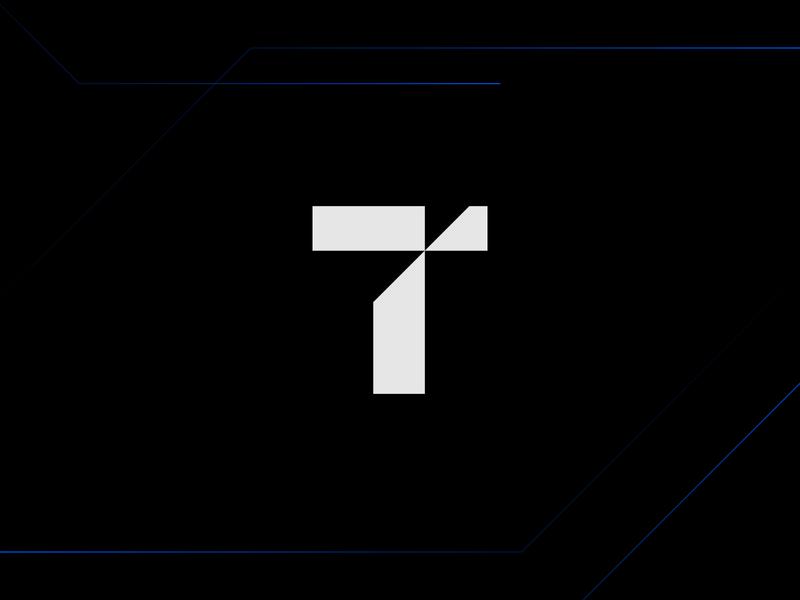 Tech T Symbol tech cut sharp technology product development mark monogram creative negative space guidelines branding software dev developer pixel corporate brand symbol branding web perfect logo mark symbol idea iconic logo minimal