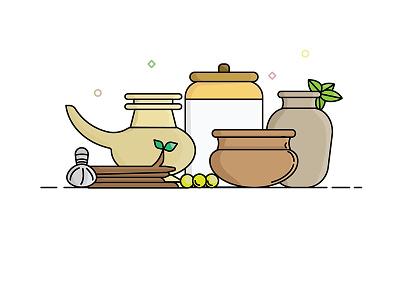 Ayurveda simple clean geometric pots massage india medicine traditional ayurveda design vector illustration
