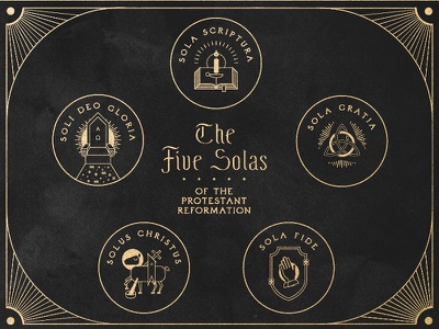 5 Solas of the Protestant Reformation gold foil illustration church theology reformation reformed lamp throne grace faith god jesus trinity bible lamb iconography christianity christian protestant sola