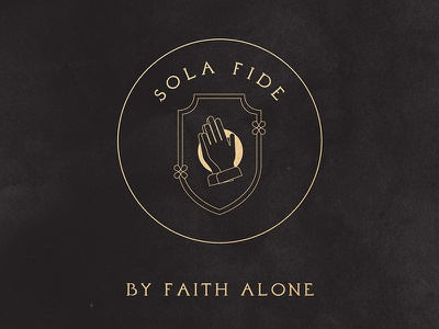 Sola Fide –5 Solas of the Protestant Reformation sola fide faithful faith mustard plant mustard flower mustard seed prayer praying hands shield 5 solas reformation protestant solus christus christianity christian christ iconography illustration bible
